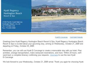 Hyatt e-Concierge email